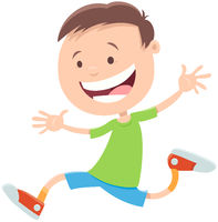 happy running boy cartoon character