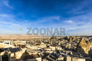Landscape of houses and fairy chimneys at Cappadocia