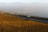 The Swiss highway No 9 running through the Lavaux vineyards near Vevey at lake Geneva, Switzerland