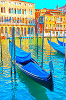 The Grand Canal in Venice with moored gondolas