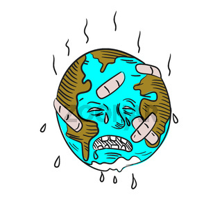 Earth Sad and Crying Doodle