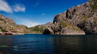 Sea landscape of Nusfjord village and harbour at flakstadoya Island , Lofoten , Norway