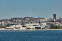 Cityline of Lisbon in Portugal over the Tagus river.