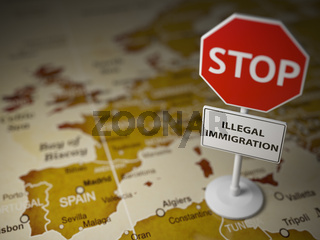 Stop illegal immigration concept. Sign stop on the map of Europe.