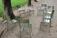 Garden chairs arranged in a circle