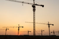 lift in site with sunset