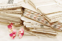 Pile of the paper postal letters