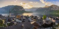 Hallstatt Austria, sunrise panorama nature landscape of Hallstatt village with lake and mountain