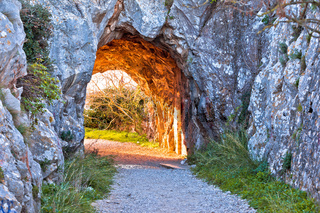 French Alps walkway carved in stone sun light view
