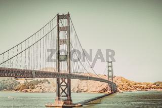 Retro toned Golden Gate Bridge in San Francisco, California, USA