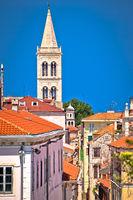 Historic Zadar tower and Kalelarga street view