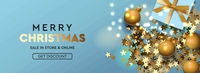 Merry Christmas and Happy New Year banner. Xmas design of sparkling lights garland, with realistic gifts box, green pine branch, glitter gold confetti. Horizontal poster, vector illustration.