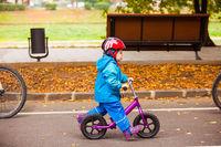 Little kid riding on balance bike, follow the parents
