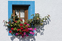 Small window with flower decoration