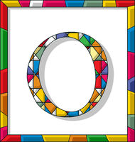 Letter O in stained glass