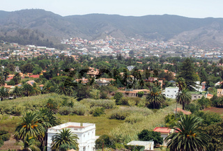 cityscape view of La Laguna in Tenerife panoramic view with houses gardens and mountains