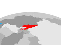Map of Kyrgyzstan on globe