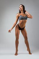 Fitness model in sports underwear view