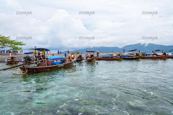 Tourist group arrive at Koh Hin Ngam island in Thailand