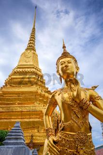 Kinnara golden statue, Grand Palace, Bangkok, Thailand