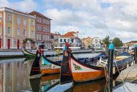 Typical moliceiros boats in the centre of Aveiro, Portugal, Europe