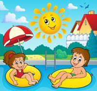 Children in swim rings image 3