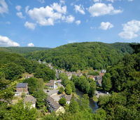 Village of Solingen-Unterburg at Wupper River in Bergisches Land,North Rhine westphalia,Germany