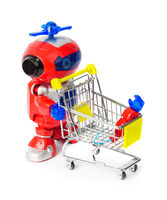 Toy robot and shopping cart with hand