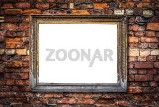 Retro Blank Art Frame On A Brick Wall