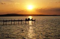 sunset over lake Steinhuder Meer in Germany