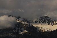 Aroser Rothorn seen from Obermutten, Switzerland. Cloudy summer day.