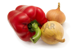 Red pepper and bulbs isolated on white background