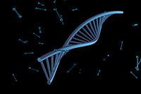Digital illustration DNA structure render with 3D