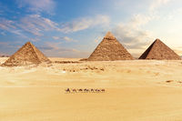 View of the Pyramids in Giza desert, Cairo, Egypt