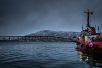 Fishing boat in port and harbour in Tromso