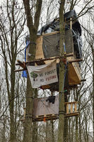 Tree house in the Hambacher Forst, environmental protest against RWE Power and global warming