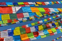 Buddhist prayer flags, Boudhanath Stupa, Kathmandu, Nepal