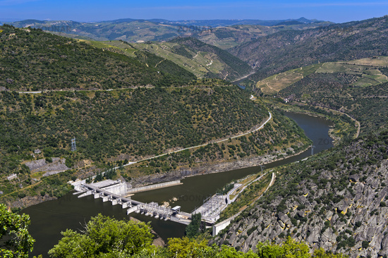 Run-of-the-river hydroelectric power plant Valeira Dam with lock at the Douro river, Portugal