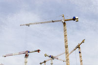 tower cranes on a construction site