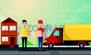 handsome man getting package from courier. Cartoon people characters. Young smiling man dressed in working uniform. Delivery service. House facade. Flat vector design
