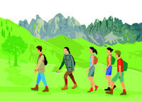 hikers, mountain climbing, people