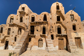 Granaries (grain stores) of a berber fortified village, known as  ksar.  Ksar Ouled Soltane, Tunisia