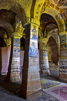 Interior of the rock-hewn church Abuna Gebre Mikael covered with frescos, Gheralta, Tigray,Ethiopia