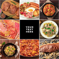 Food Collage. Meat dishes with a place for text and logo, a square design template for a banner, flyer, or restaurant menu