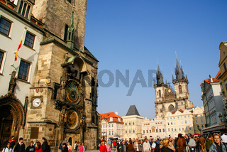 Prague, Czech Republic - October 8, 2008: View of the Old Town Square with tourists strolling serenely by it.