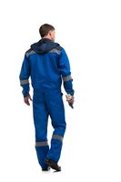 Man in blue work clothes isolated rearview