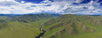 Aerial landscape in Orkhon valley, Mongolia
