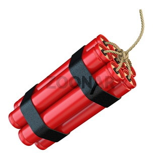 Red dynamite sticks TNT with wick 3D