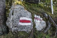 White-red-white stands for mountain trail, Wirzweli, Nidwalden, Switzerland, Europe
