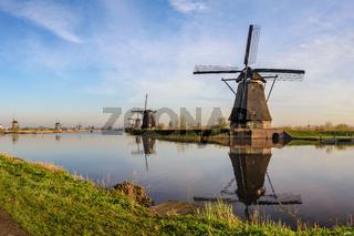 Rotterdam Netherlands, Dutch Windmill at Kinderdijk Village